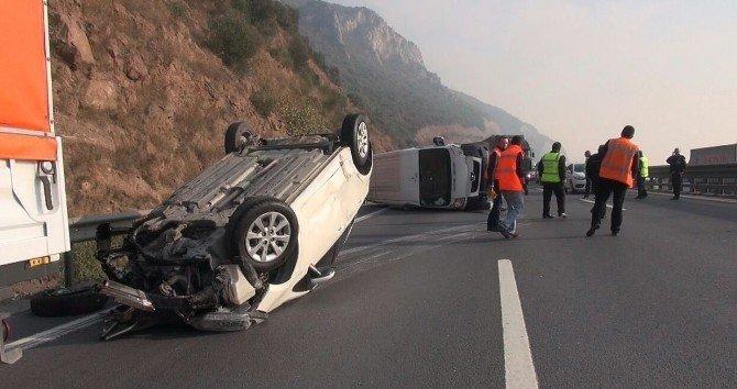 TEM'de kamyonete çarpan otomobil takla attı: 2 yaralı