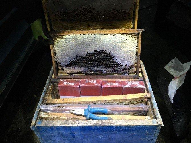 Arı kovanlarının içinde kaçak sigara ele geçirildi