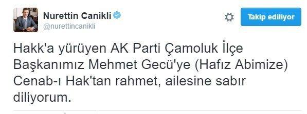 AK Parti İlçe Başkanı hayatını kaybetti.