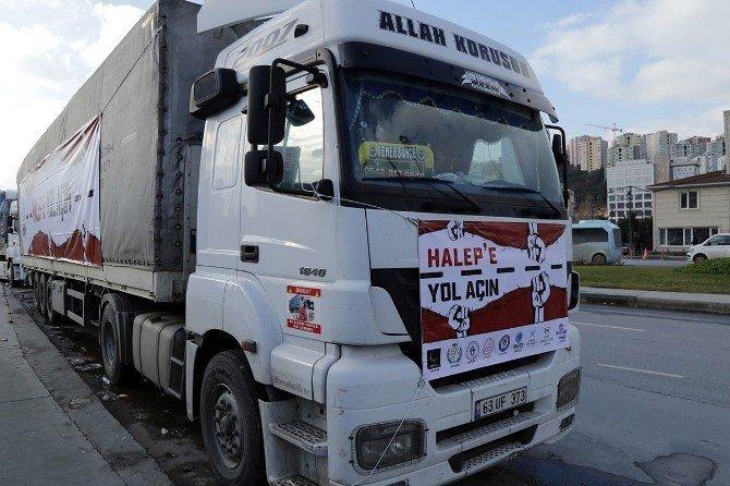 Halep'e Kağıthane'den, 20 tır yaşam malzemesi gönderildi