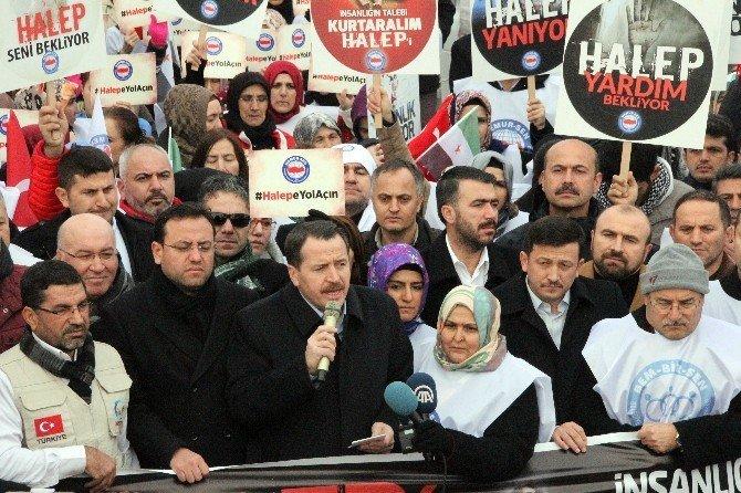 """""""Halep'e Yol Ver"""" konvoyu Hatay'da"""