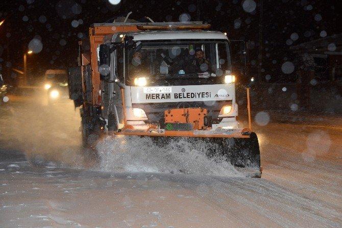 Meram Belediyesi gece kar alarmında