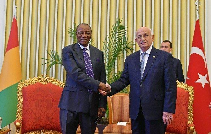 TBMM Başkanı İsmail Kahraman Gine Cumhurbaşkanı Alpha Conde ile görüştü