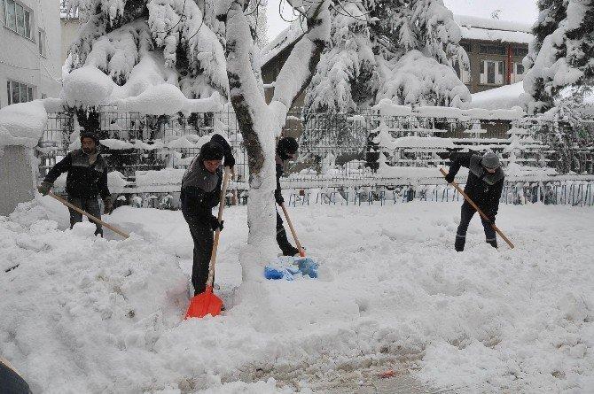 Akşehir Belediyesi'nden kar temizleme seferberliği