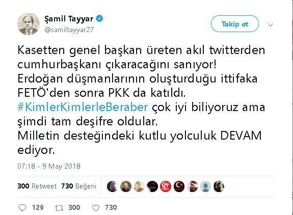 Şamil Tayyar'dan akıl çıkışı