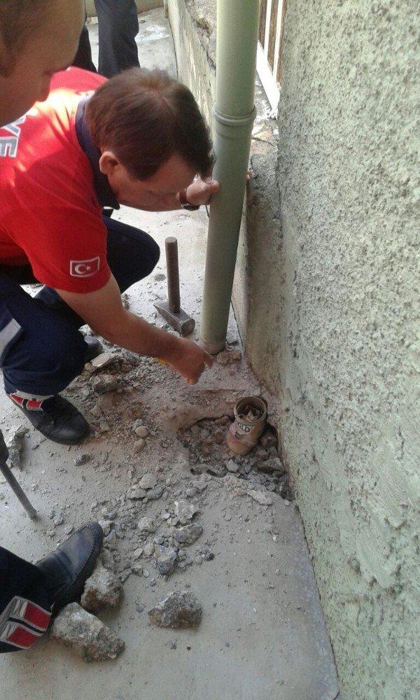 Gider borusuna giren yavru kediyi Cankur kurtardı