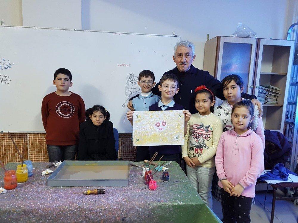 Öğrenciler ebru sanatıyla tanıştı