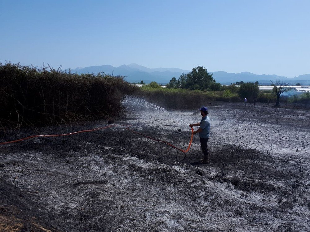 Antalya'da boş arazide yangın