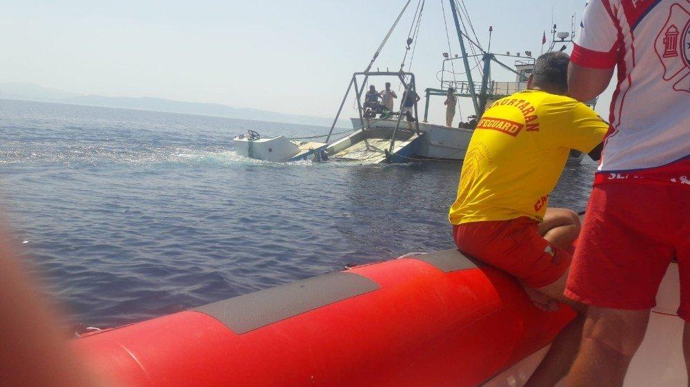 Alabora olup batan ve 3 kişiye mezar olan tekne denizden çıkartıldı