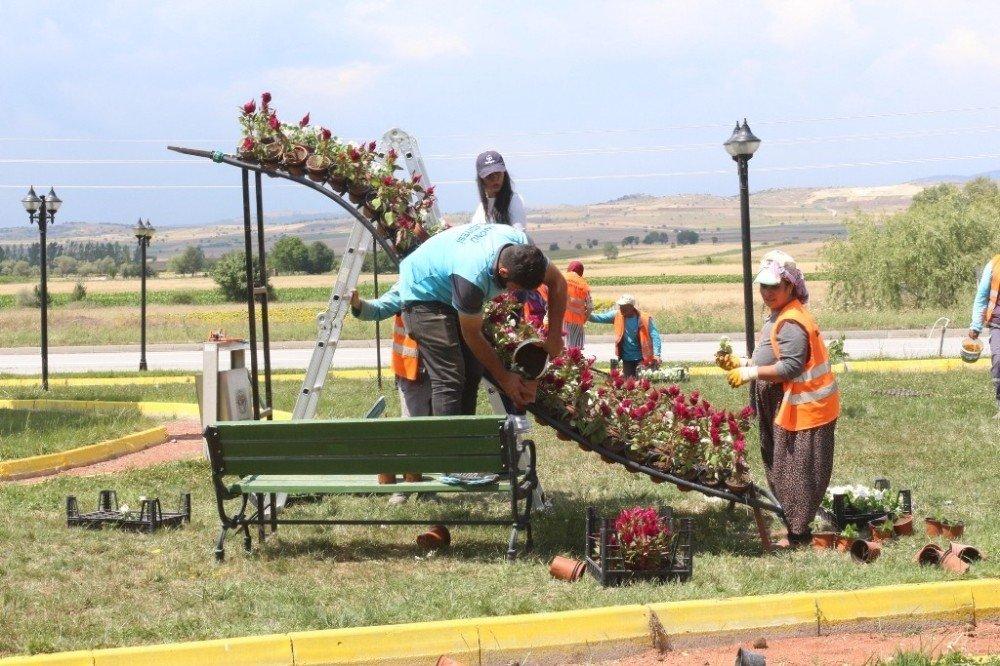 15 Temmuz Demokrasi ve Şehitler Parkı çiçek şelalesi ile süsledi