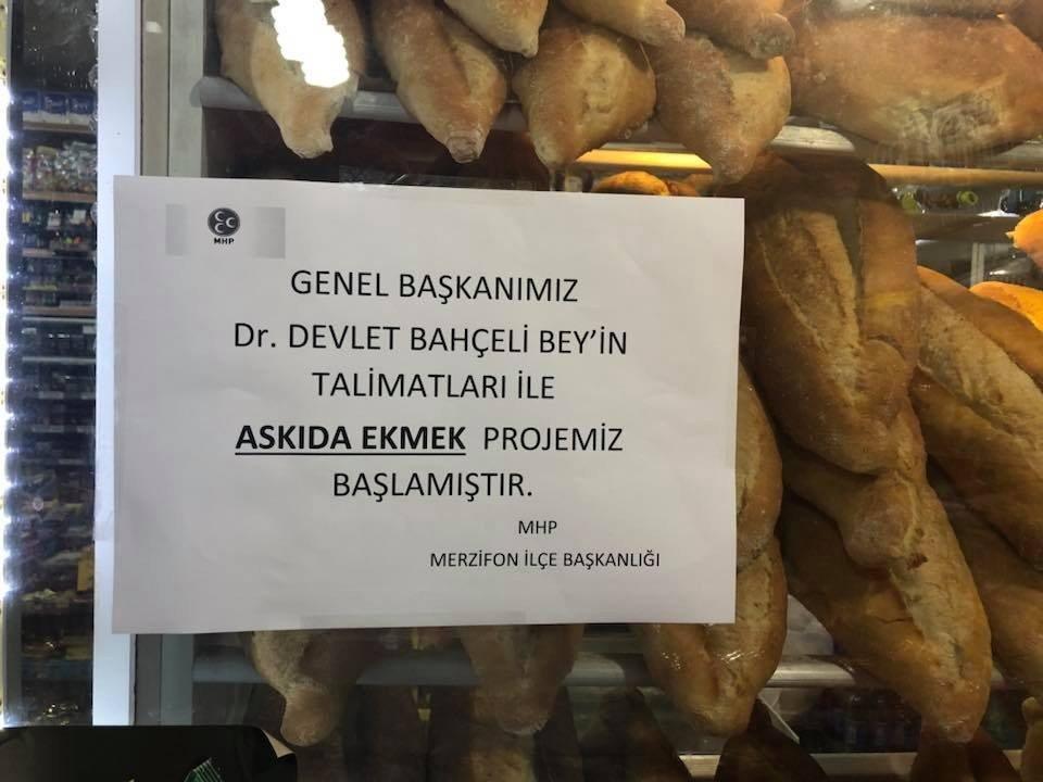 Merzifonlular Bahçeli'nin çağrısıyla askıda ekmek projesini başlattı