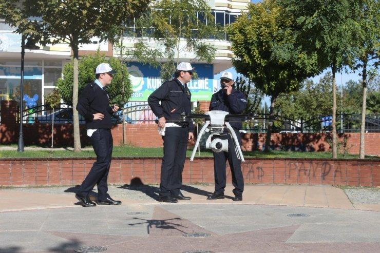 Adıyaman'da drone ile trafik uygulaması yapıldı