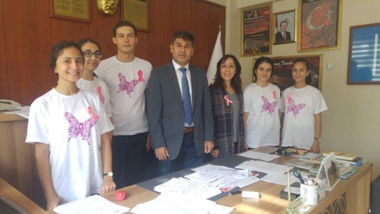 Lise öğrencilerinden kansere karşı 'pembe kurdele'