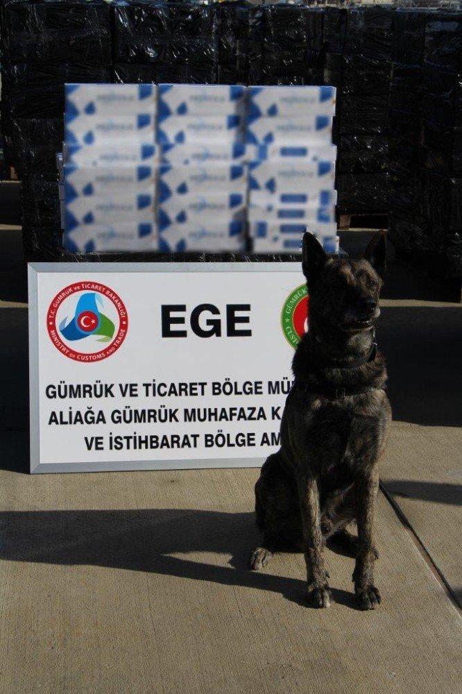 İzmir Aliağa Limanı'nda 500 bin paket kaçak sigara ele geçirildi