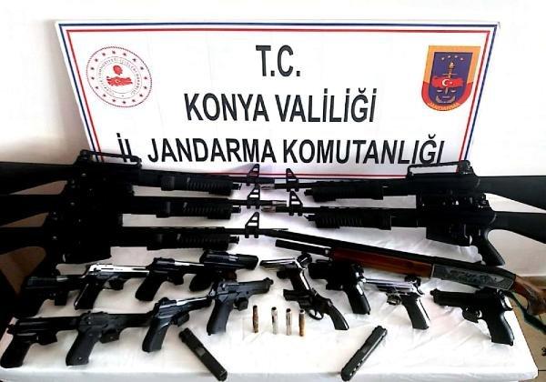 Konya'da kaçak silah operasyonunda dede ve 2 torununa gözaltı