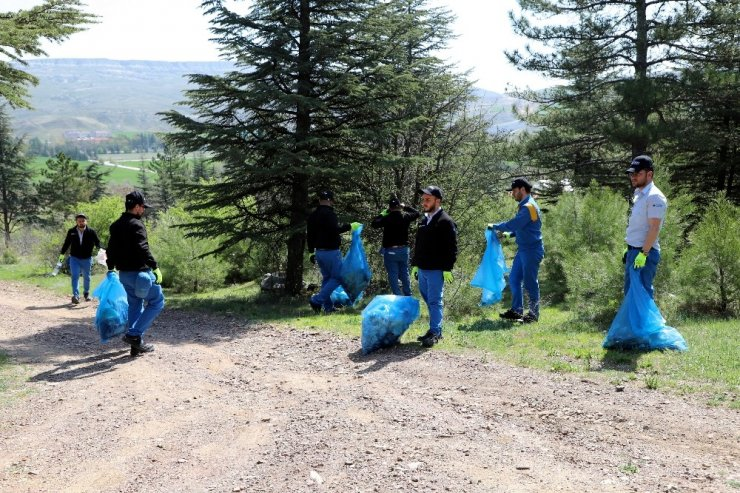 Çalışanlardan orman temizliği