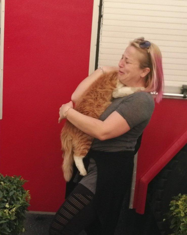 Genç kadın kedisi için ağladı