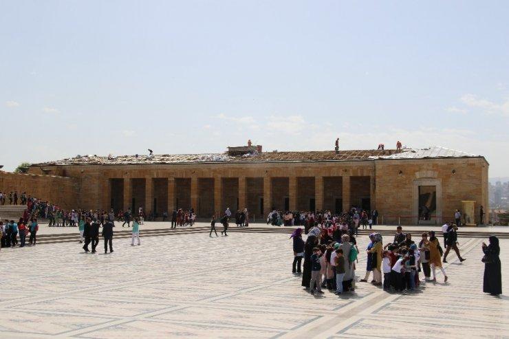 Anıtkabir'in çatı kısmı aslına uygun olarak yenileniyor