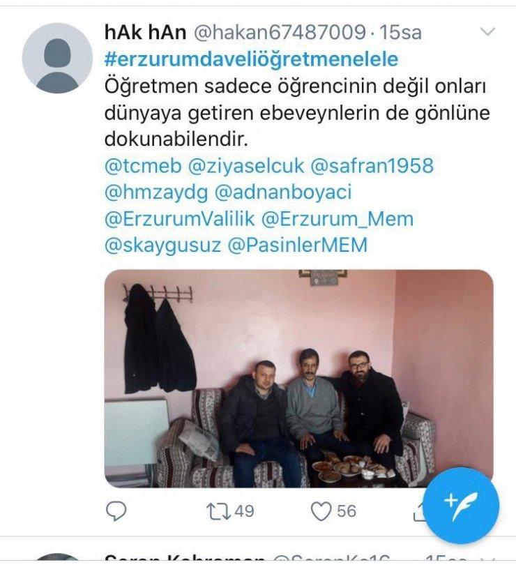 Erzurum'da veli öğretmen el ele