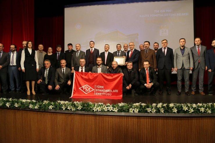 Recep Tayyip Erdoğan Üniversitesi'ne TSE Kalite Yönetimi Sistemi Belgesi verildi