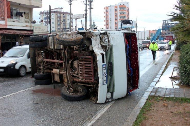 Faciayı önleyen kamyon şoförü yaralı kurtuldu