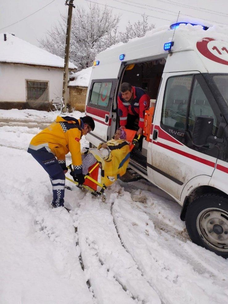 112 ekipleri diyaliz hastasına güçlükle ulaşabildi