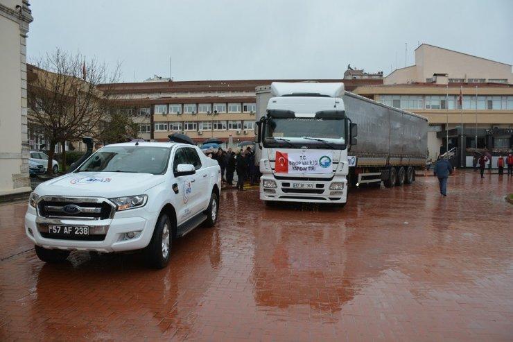 Sinop'tan depremzedelere yardım