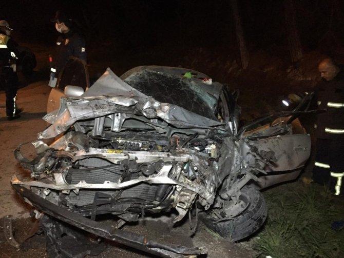 Ağaca çarpan sürücü ağır yaralandı