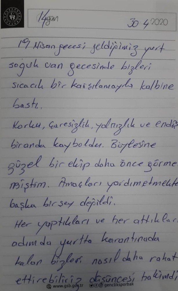 Karantina yurtlarında kalanlardan teşekkür mektubu