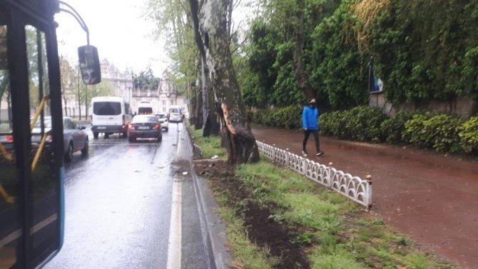 Beşiktaş'ta kontrolden çıkan araç 80 metre sürüklenip ağaca çarptı: 4 yaralı