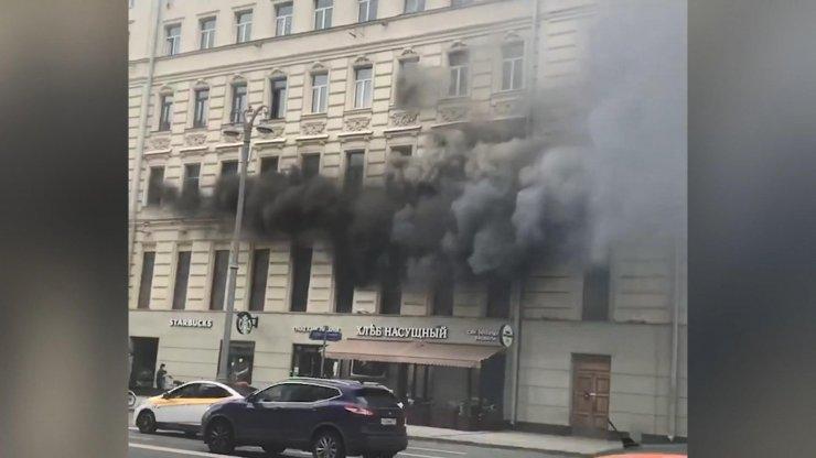 Moskova'nın merkezinde büyük yangın