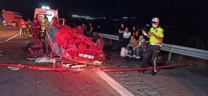 Kontrolden çıkan otomobil takla attı: 1 ölü 4 yaralı