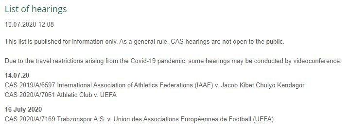 Trabzonspor'un CAS'taki duruşma tarihi belli oldu