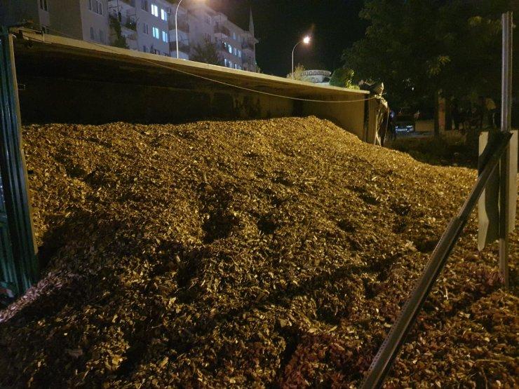 TIR devrildi; taşıdığı kilolarca talaş yola saçıldı