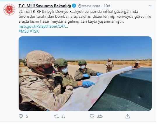 Türk-Rus devriyesinde bombalı araç saldırısı düzenlendi, can kaybı yok