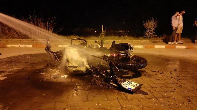 Polis ceza yazınca motosikletini ateşe verdi