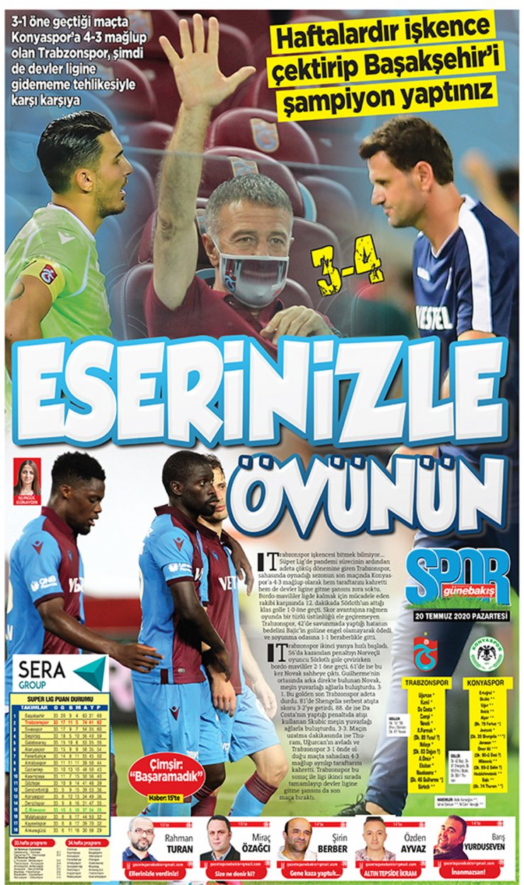 Trabzonspor'da şampiyonluk böyle gitti