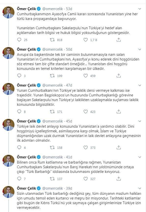 AK Parti'li Çelik'ten Yunanistan Cumhurbaşkanına sert tepki