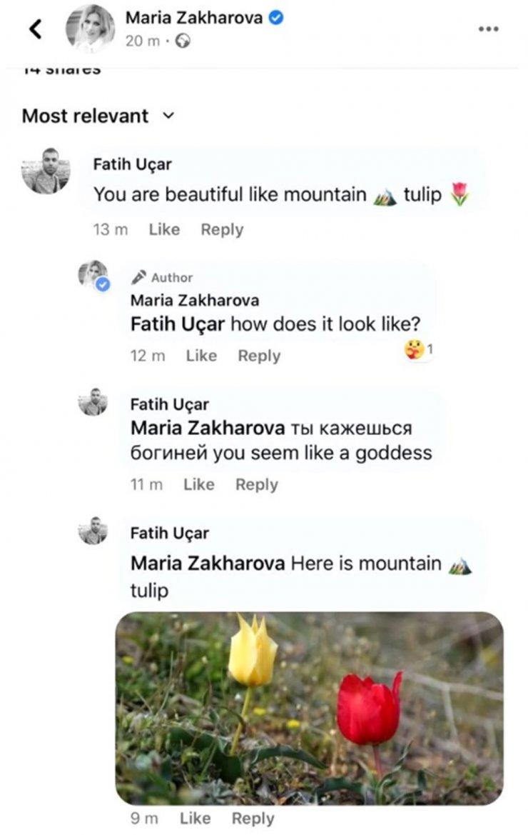 Rus sözcü Zaharova'dan, kendisini 'dağ lalesi'ne benzeten Türk takipçisine cevap