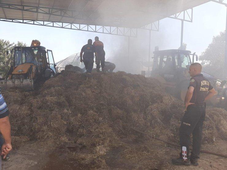 Kaynak makinesinden çıkan kıvılcımlar 20 ton samanı yaktı