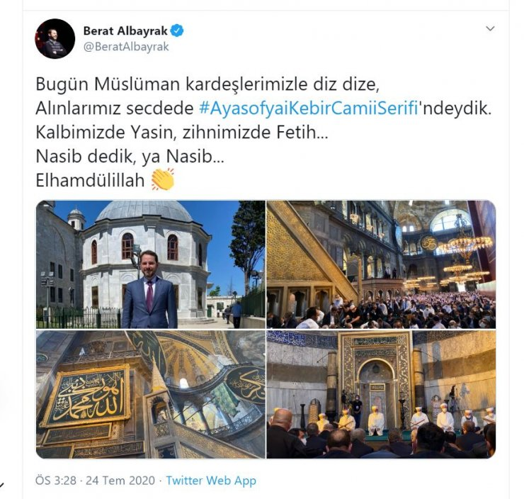Bakan Albayrak'tan 'Ayasofya' paylaşımı