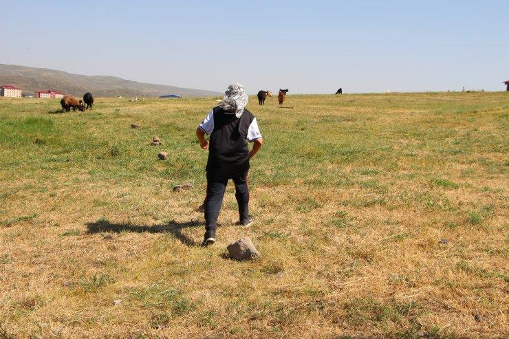 Çobanlık yaparken antrenmanını da aksatmıyor