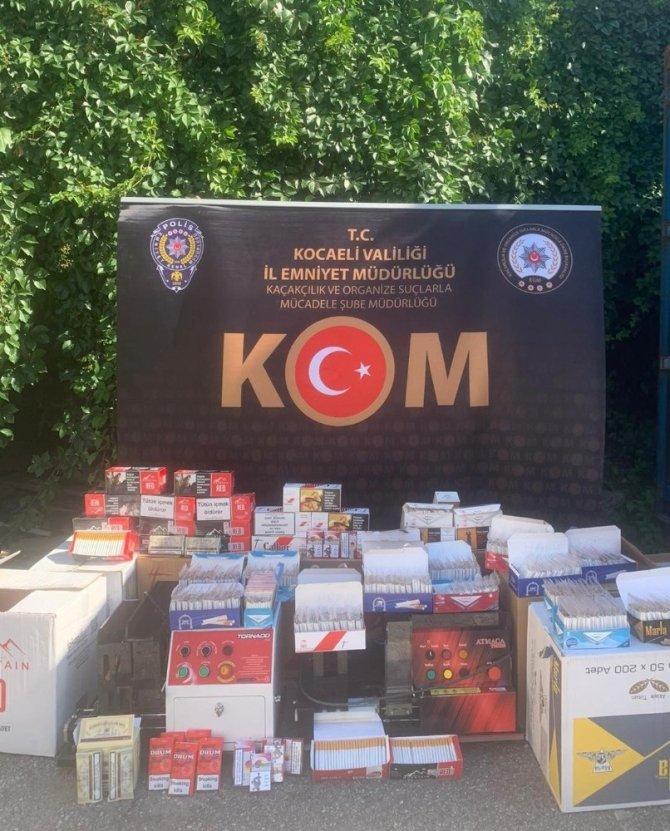 Kocaeli'de onlarca kilogram tütün ve binlerce makaron ele geçirildi