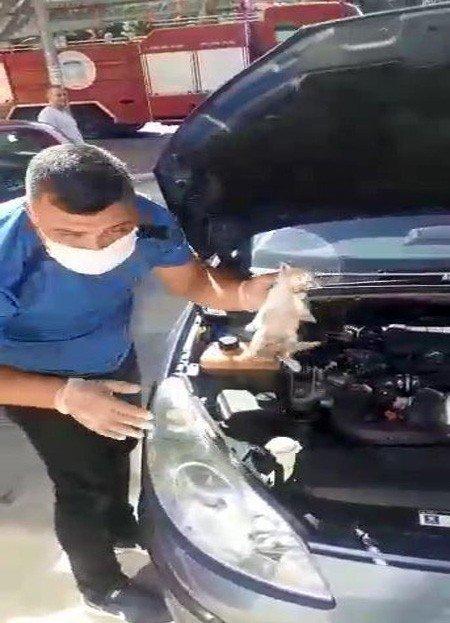 Motor kaputuna sıkışan yavru kedi uzun çabalar sonrası kurtarıldı