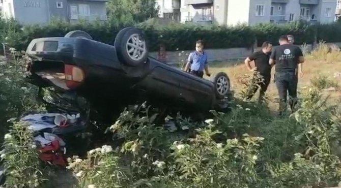 Tarlaya uçan aracın sürücüsü 200 promil alkollü çıktı
