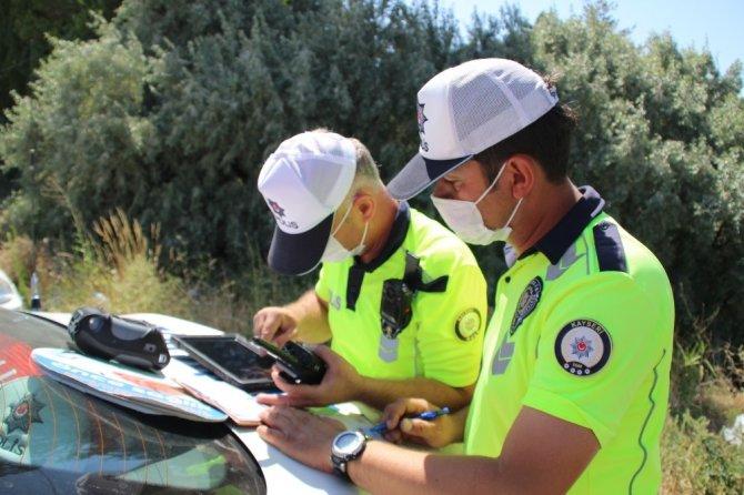 İhlal yapan sürücüler drone ile tespit edildi, ceza yazıldı
