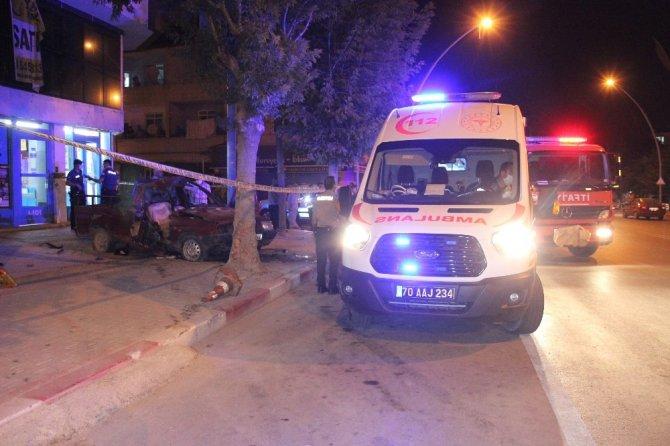 Karaman'da dur ihtarına uymayan araç kaza yaptı: 1'i ağır 2 yaralı
