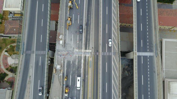 Haliç Köprüsü'nde ikinci etap çalışması havadan görüntülendi