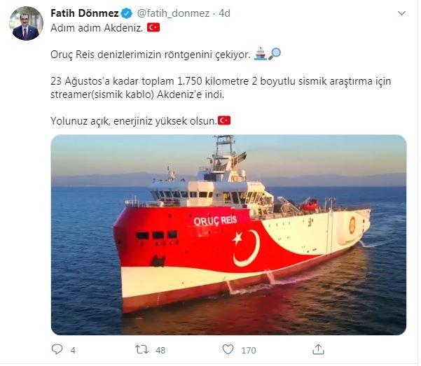 Bakan Dönmez: Sismik kablo Akdeniz'e indi