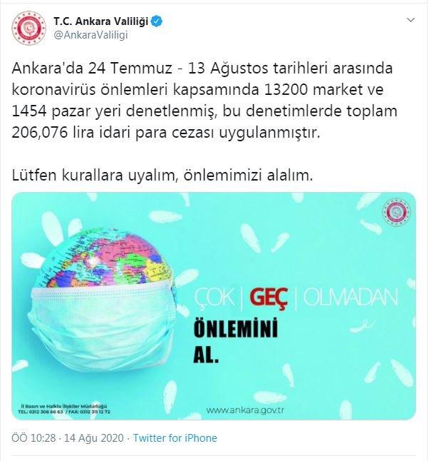 Ankara'dakikoronavirüs denetimlerinde 206 bin lira ceza yazıldı